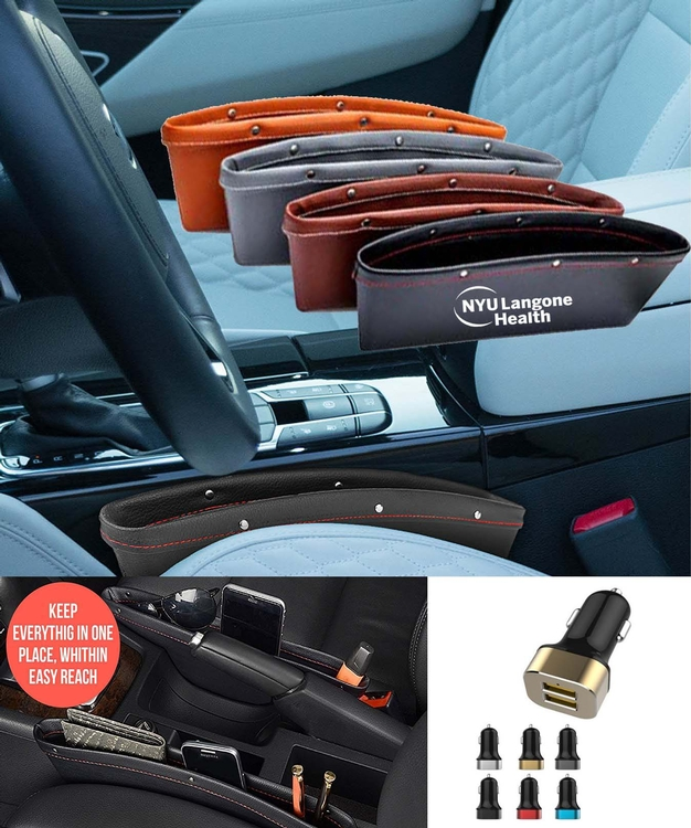 iBank® Leatherette Car Organizer + Car Charger