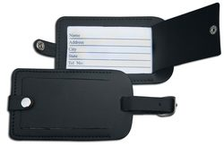 Black Classic Leather Luggage Tag - Black