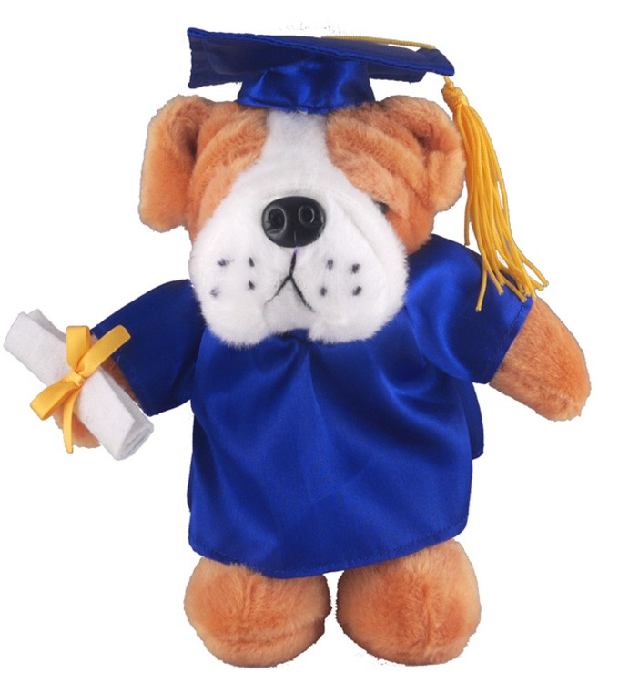 Independent Promotions - Soft Plush Bulldog in Graduation Cap & Gown ...