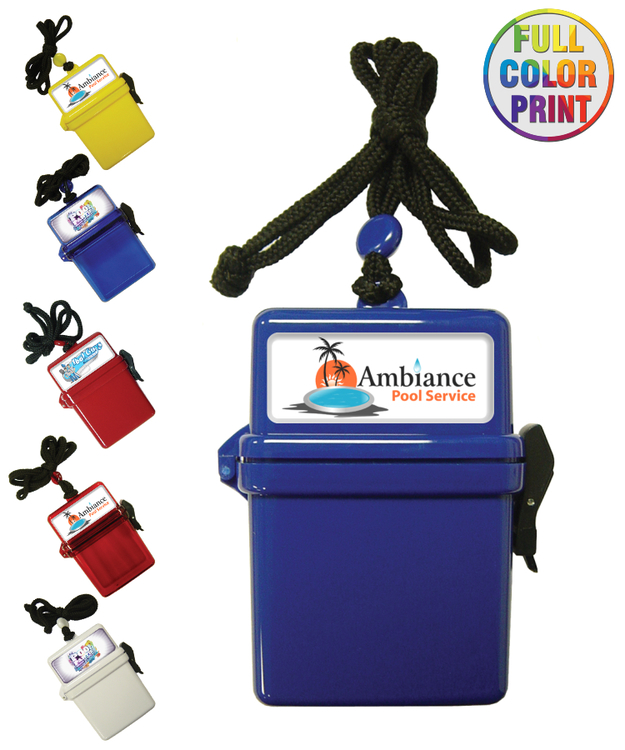 Full Color, Waterproof Swim Box with Necklace Rope
