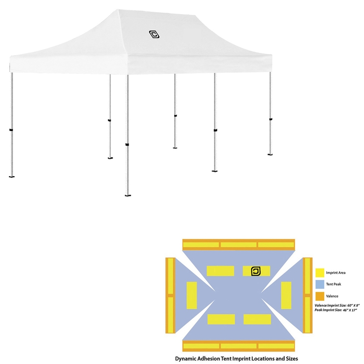 10' x 20' Pop Up Tent (Full-Color Dynamic Adhesion, 1 Location)