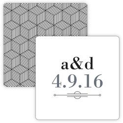 Wedding Drink Coaster - 3.75x3.75 Square Shape - 18 pt. Paperboard