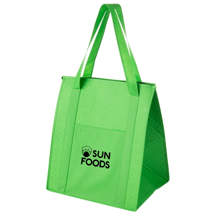 Non-woven Polypropylene Insulated Grocery Tote with Zipper Closure and Bottle Pocket - Y2KC1315 - Silk Screened
