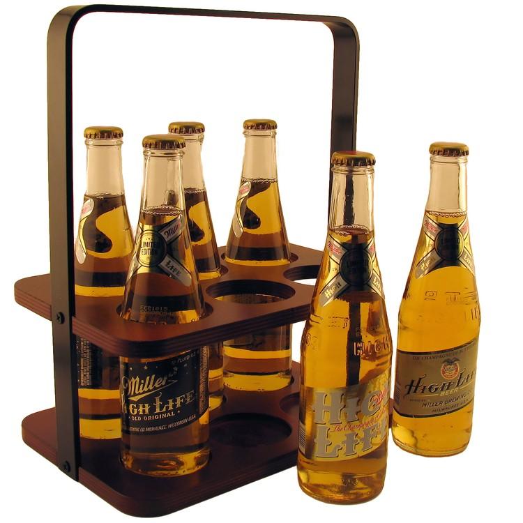 Wood 6 Pack Beverage Carrier