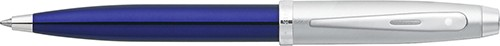 100 Blue Translucent Barrel and Brushed Chrome Cap with Chrome Appointments Ballpoint Pen