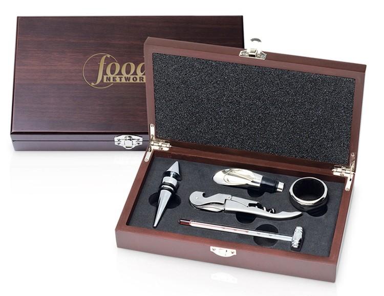 Wine Set x 5 Wood Rect Box