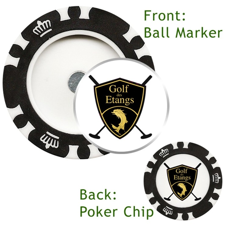 Magnetic Custom Poker Chip with custom removable Golf Ball Marker - Direct Print - GOLF