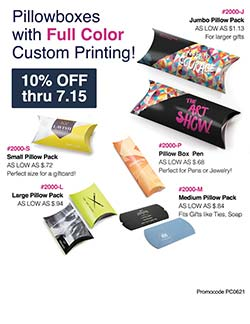 Sales flyer for pillow boxes from Warwick Publishing