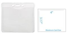 Horizontal Top-Load Clear Vinyl Badge Holder w/ Slot & Chain Holes