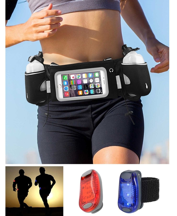 iBank® Running Belt with Touchscreen Zipper Pockets + Safety Light - iBank®