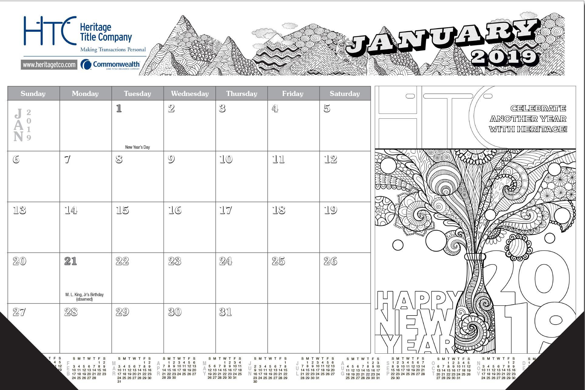 Adult Coloring Book 12 Sheet Desk Calendar