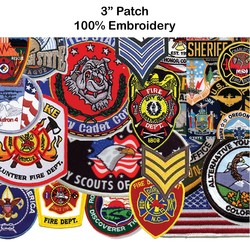 3 Embroidered Patch - 100% Embroidery