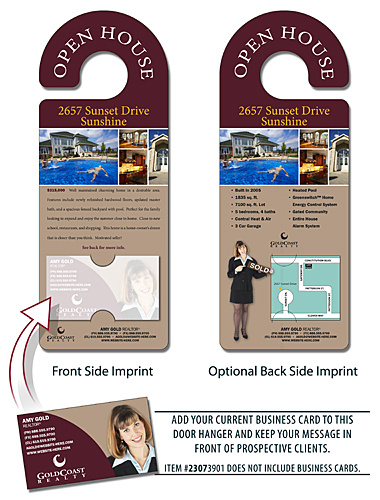 Real Estate Door Hanger - 4x10.5 Round Handle Door Hanger with Business Card Insert