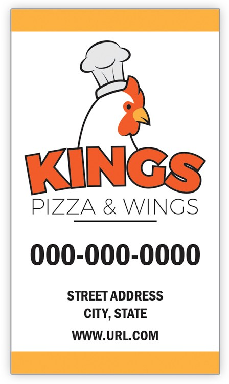 Design Your Own Pizza & Wings Business Card Magnet - Vertical