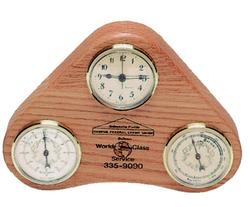 Solid Hardwood Desktop Weather Station with Clock - USA