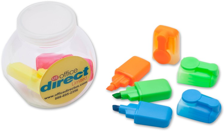 Mini Highlighter Set in Jar with Full Color Imprint
