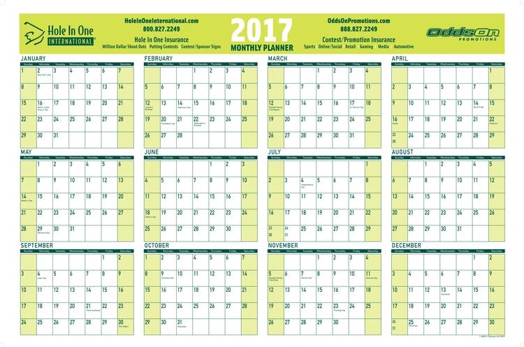 Wall Calendar - Year on a page wall calendar