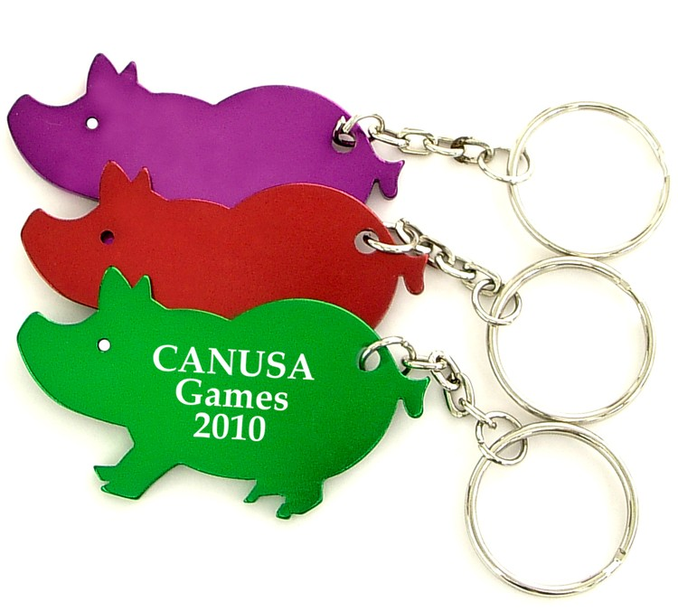 Pig shape bottle opener with key chain.