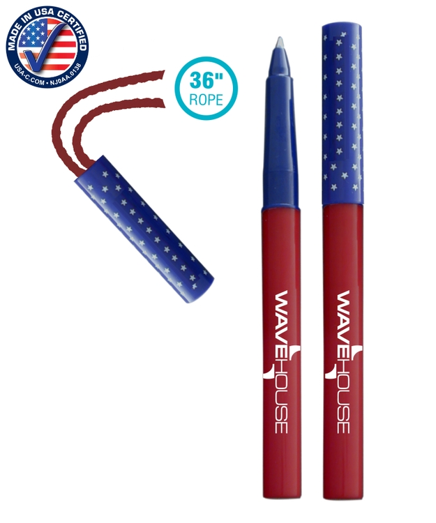786ST Rope Pen USA Made Pen-on-a-Rope 36 Necklace Patriotic Pen w/ Cap