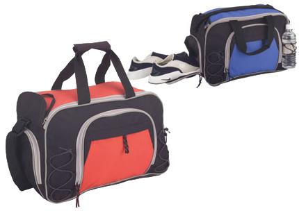 600D Poly GYM DUFFEL Large zipper pocket elastic holder shoe storage vinyl bottom