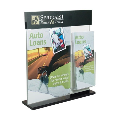 8.5w x 11h Acrylic Counter Frame with Header & Brochure Pocket