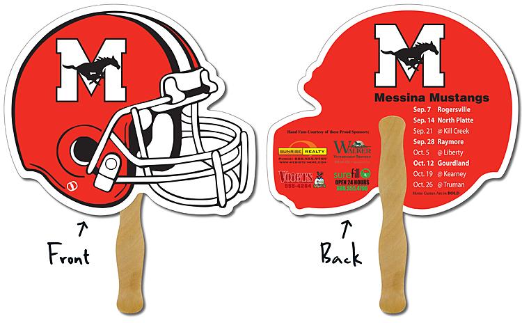 Sport Hand Fan - 10 x 8.5 Football Helmet Shape Laminated - 14 pt.