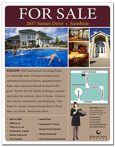 Real Estate Flyer - 8.5x11 - 4 pt. Gloss Text
