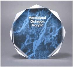 6 Blue Marble Octagon Acrylic Award