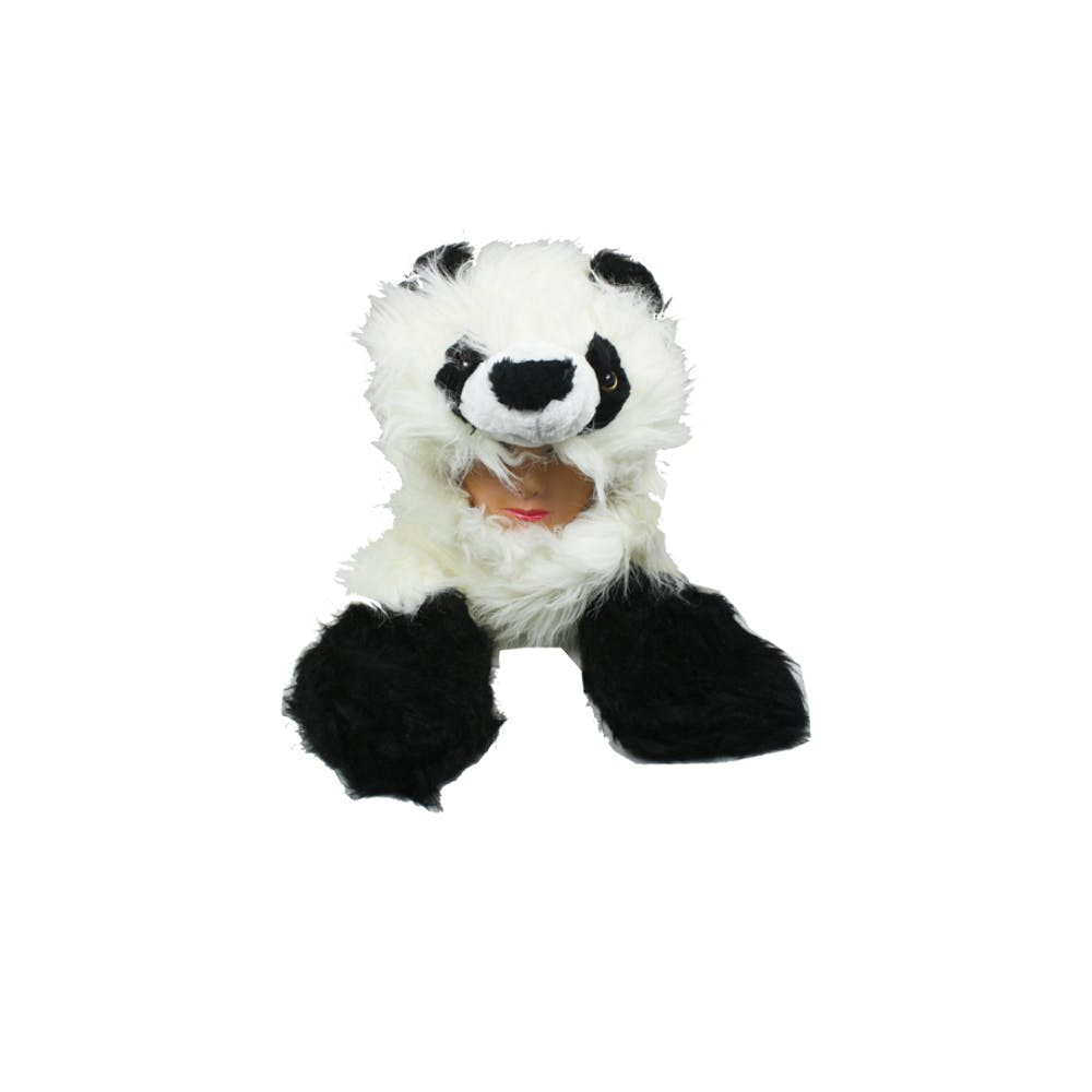 df48a9323 Furry Panda Animal Winter Hat with Mittens