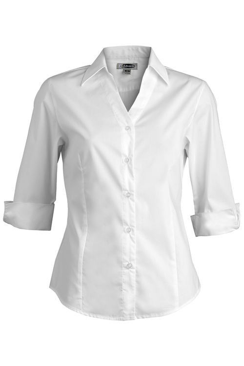 LADIES' V-NECK TAILORED STRETCH BLOUSE-3/4 SLEEVE