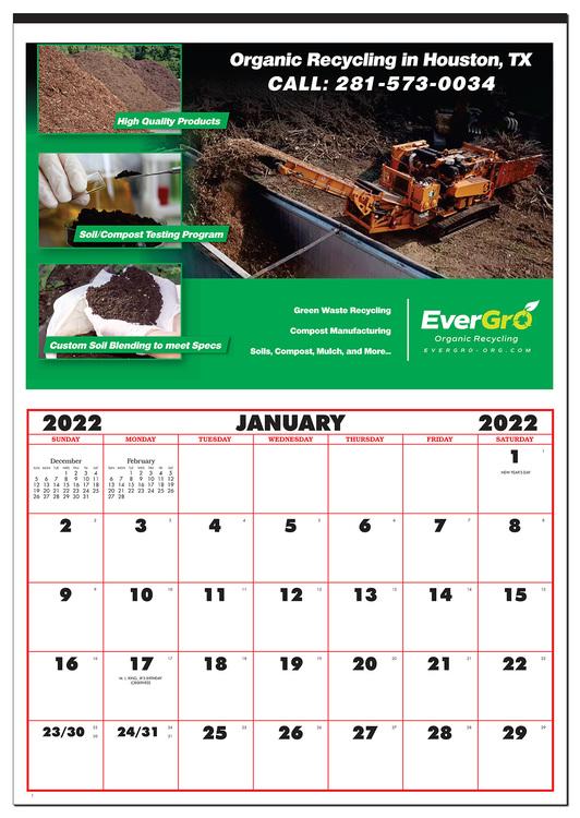Single Picture Custom Large Apron Calendar (21 x 29)
