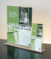 Counter Sign Holder for 11x14 Sign w/ 4w brochure pocket. 16-1/8w x 14h overall size.