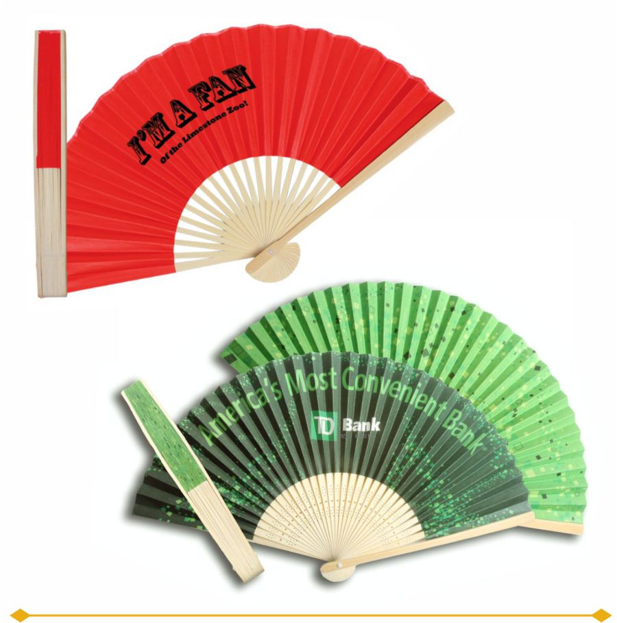 Paper Folding Fans are custom printed with your artwork. Black handles are available for some styles.