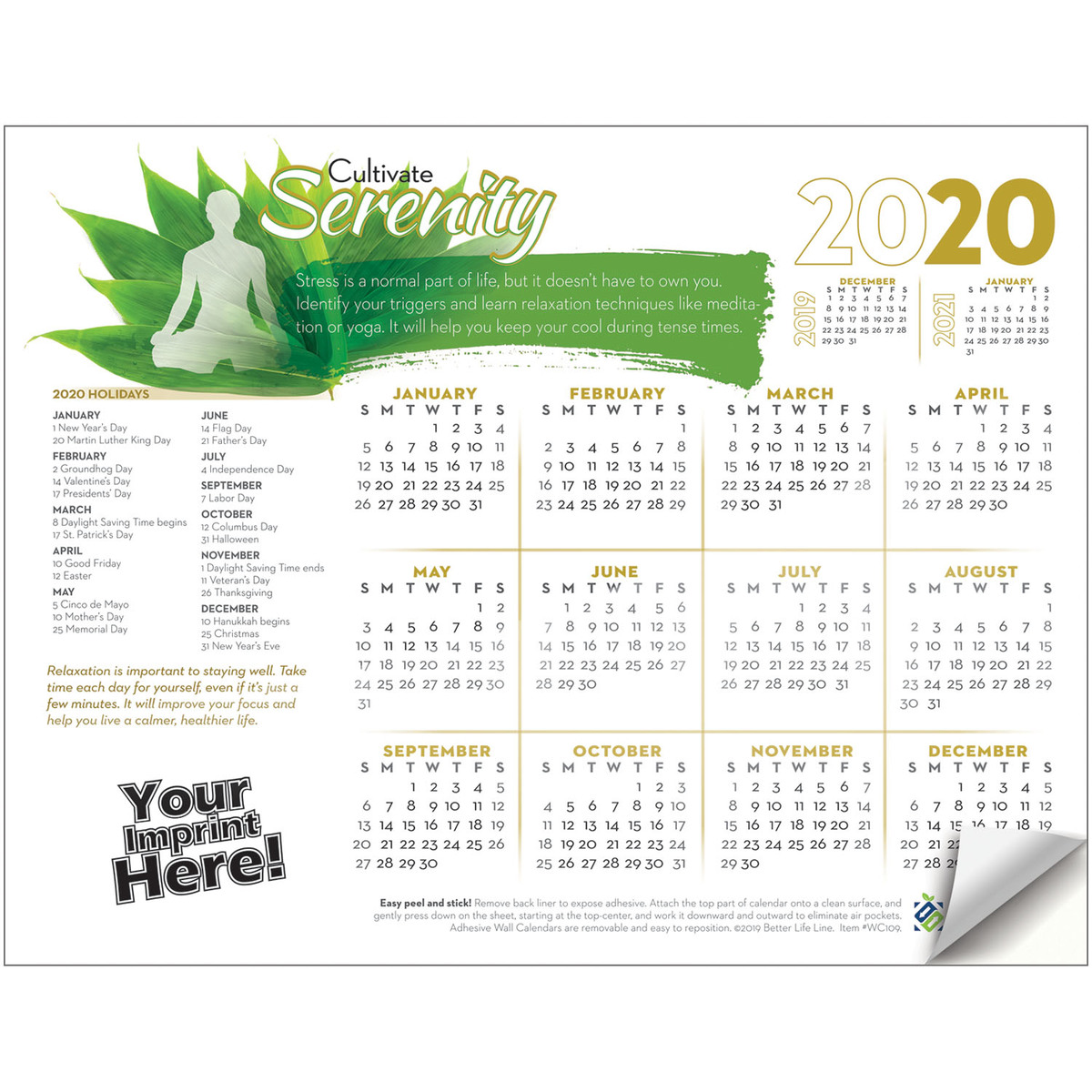 Awareness Calendar 2020 Adhesive Wall Calendar   2020 Cultivate Serenity (Stress Awareness