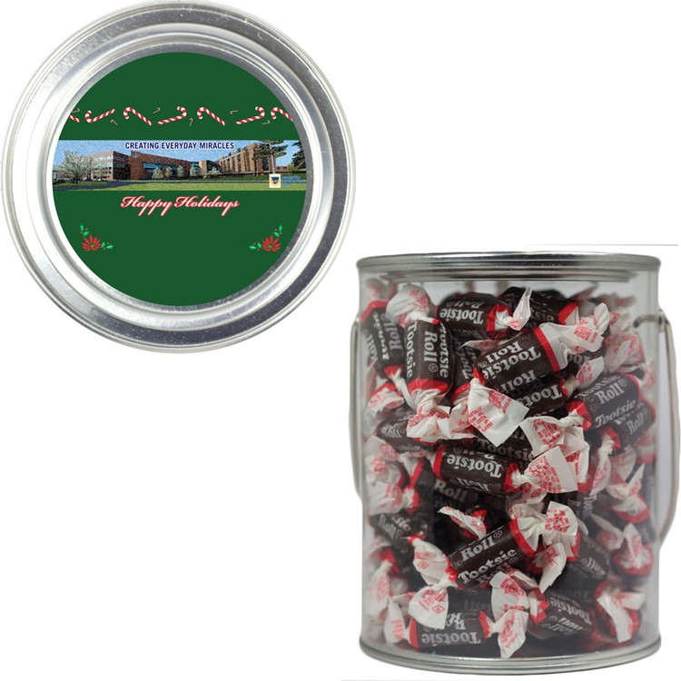 Clear Plastic Paint Can Pail with Tootsie Rolls