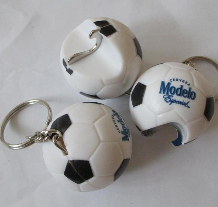 3D Soccer Shape Bottle Opener With Keychain
