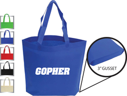 Non-woven Squre shopping tote bag with gusset on the bottom.