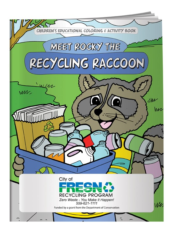 Children S Coloring Book Meet Rocky The Recycling Raccoon Cb1065