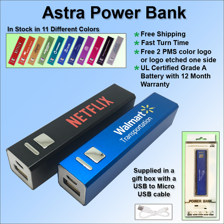 Astra Power Bank 2200 mAh - Free Shipping, Free Setup!