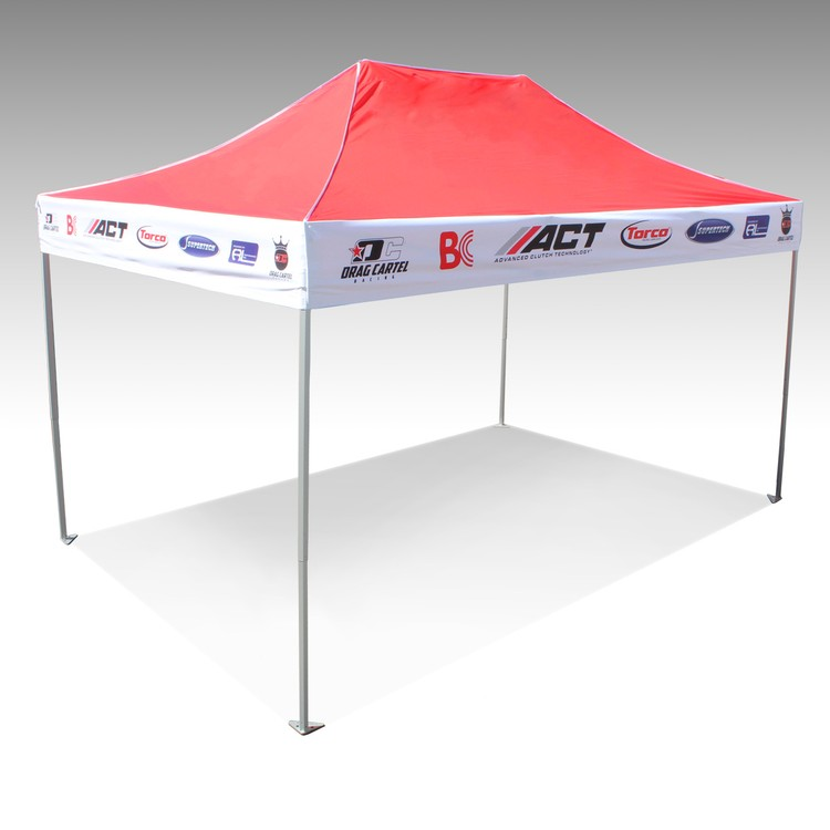 V5 10x15 Steel Frame Pop Up Tent w/ Printed Valances & Solid Top