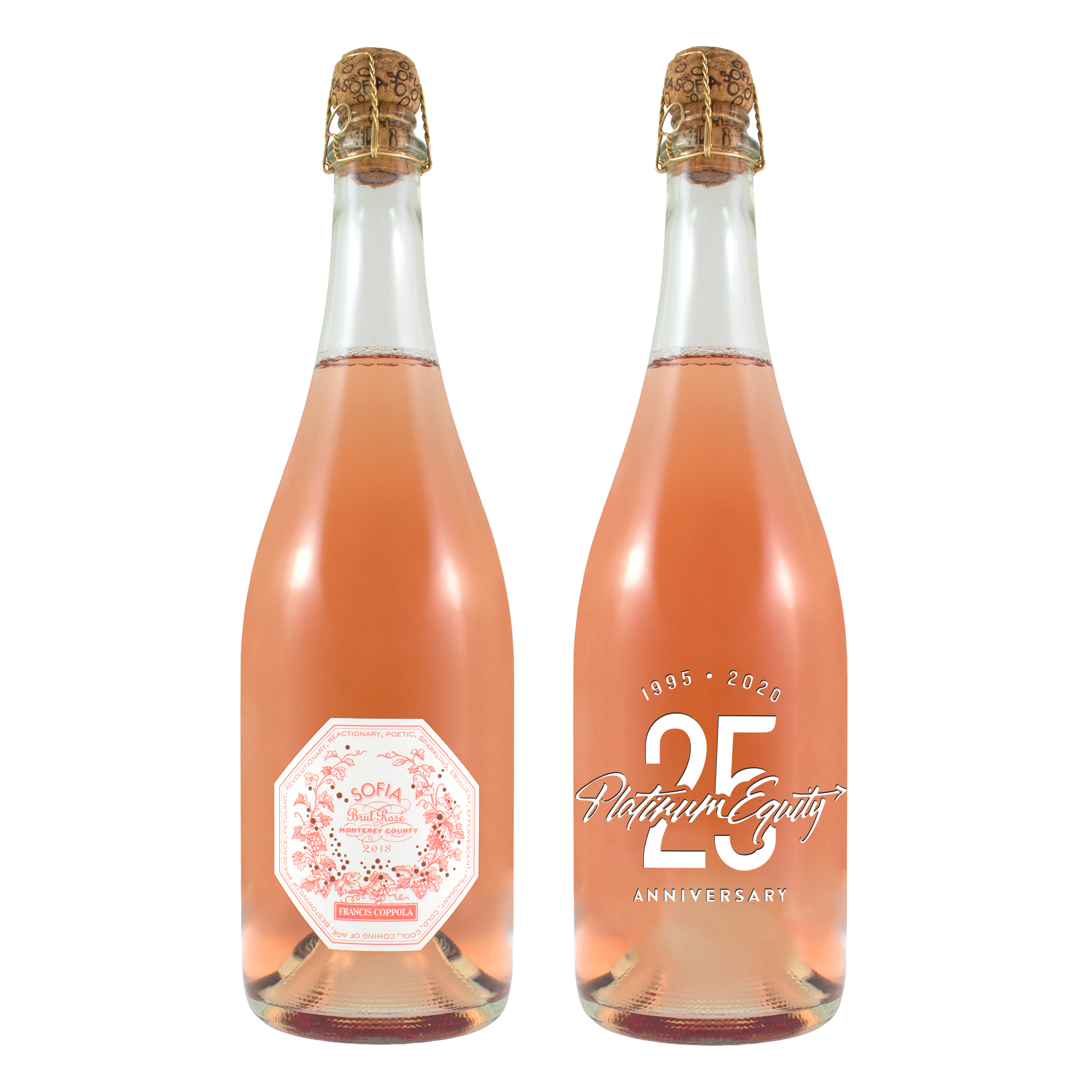Etched Sparkling Coppola Sofia Rose with 1 Color Fill