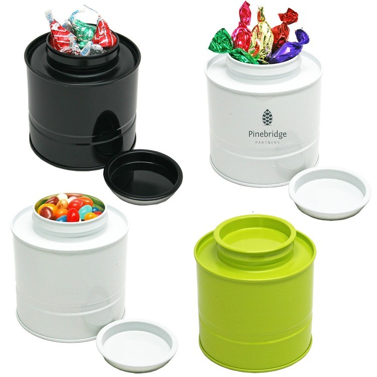 Asian Style Round Tin Box Canister Storage with Hard Candy