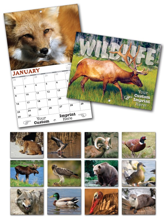 13 Month Custom Appointment Wall Calendar - WILDLIFE