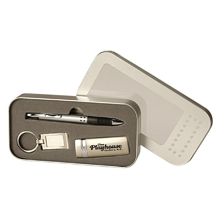 Pen, Metal Lighter & Key Tag Gift Set