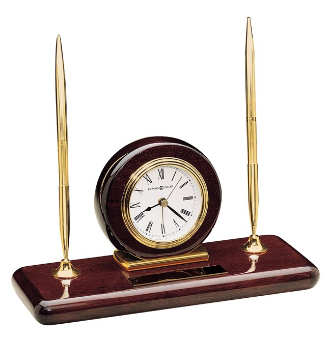 Howard Miller Rosewood Desk Set, clock and pen