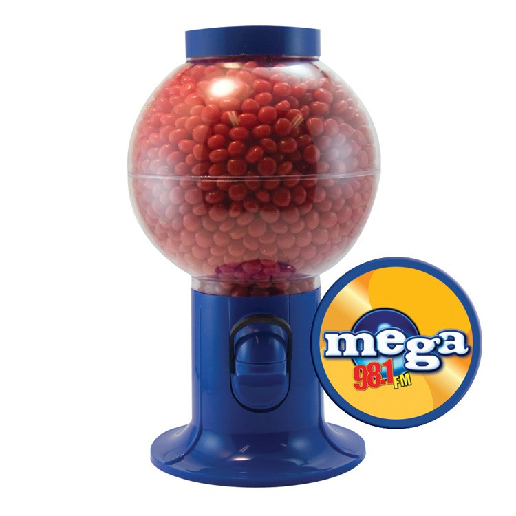 Blue Gumball Machine with Cinnamon Red Hots