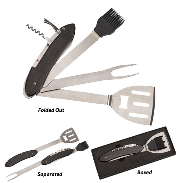 Folding BBQ Tools with Black Handle