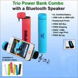 Trio 3 in 1 Power Bank & Speaker with Stand -3000 mAh