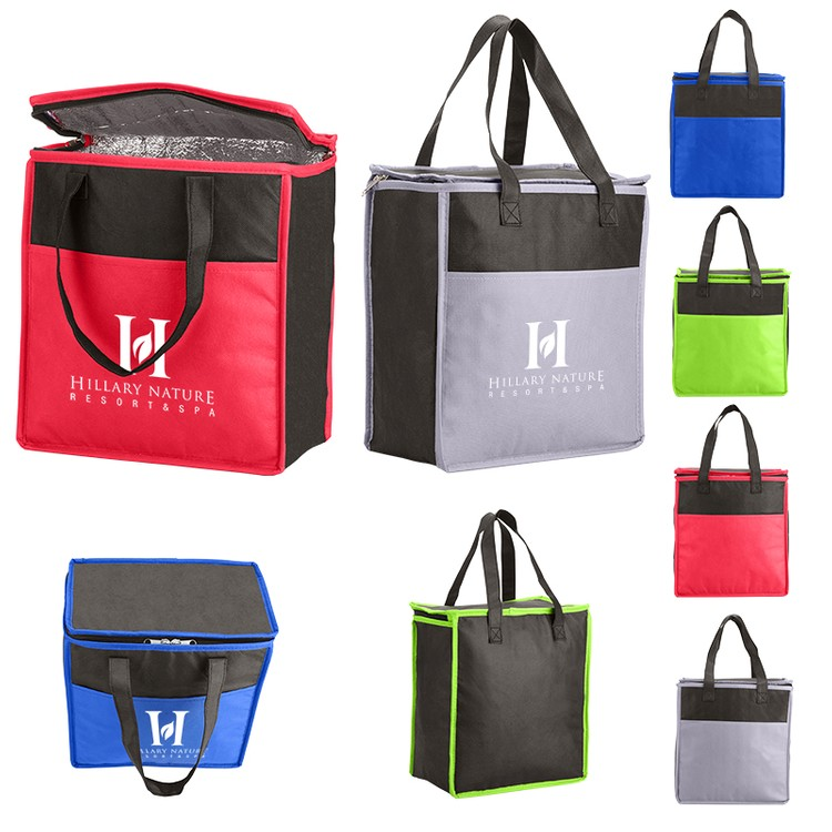 Two-Tone Flat Top Insulated Nonwoven Grocery Tote