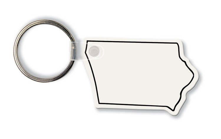 Key Tag - Iowa - Spot Color - Budget friendly key chain / ring / holder and key accessories for auto, car, house or automotive dea